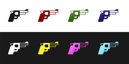 Set Pistol or gun icon isolated on black and white background. Police or military handgun. Small firearm. Vector Stock Illustratie