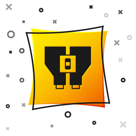 Black Binoculars icon isolated on white background. Find software sign. Spy equipment symbol. Yellow square button. Vector