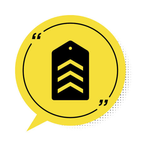 Black Military rank icon isolated on white background. Military badge sign. Yellow speech bubble symbol. Vector