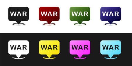 Set The word war icon isolated on black and white background. International military conflict. Army. Armament. Nuclear weapon. Template for text. Vector