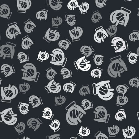 Grey Baseball glove with ball icon isolated seamless pattern on black background. Vector