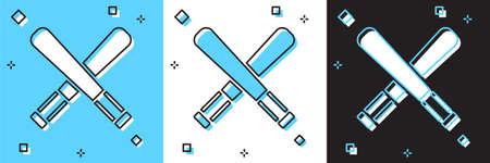 Set Crossed baseball bat icon isolated on blue and white, black background. Vector