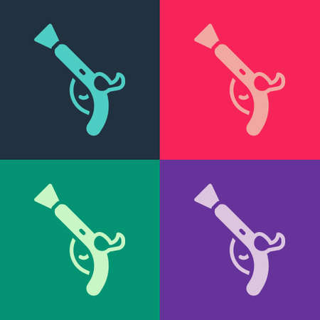 Pop art Vintage pistols icon isolated on color background. Ancient weapon. Vector