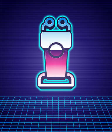 Retro style Stage stand or debate podium rostrum icon isolated futuristic landscape background. Conference speech tribune. 80s fashion party. Vector