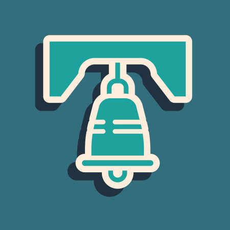 Green Liberty bell icon isolated on green background. Long shadow style. Vector
