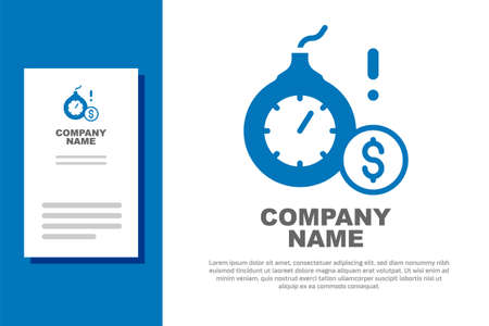 Blue Bomb with a explosive burning fuse and the dollar currency icon isolated on white background. Economic crisis and business bankruptcy. Logo design template element. Vector