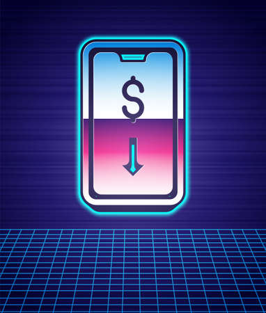 Retro style Mobile stock trading concept icon isolated futuristic landscape background. Online trading, stock market analysis, business and investment. 80s fashion party. Vector
