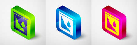 Isometric Drop in crude oil price icon isolated on grey background. Oil industry crisis concept. Square button. Vector Stock Illustratie
