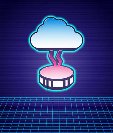 Retro style Storm icon isolated futuristic landscape background. Cloud and lightning sign. Weather icon of storm. 80s fashion party. Vector Stock Illustratie