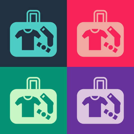 Pop art Suitcase for travel icon isolated on color background. Traveling baggage sign. Travel luggage icon. Vector