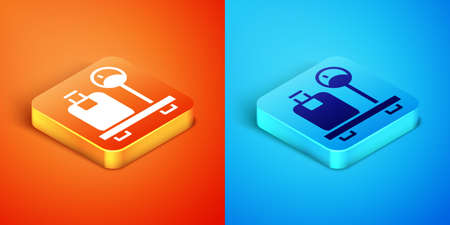 Isometric Scale with suitcase icon isolated on orange and blue background. Logistic and delivery. Weight of delivery package on a scale. Vector