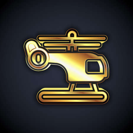 Gold Helicopter aircraft vehicle icon isolated on black background. Vector Stock Illustratie