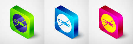 Isometric No Smoking icon isolated on grey background. Cigarette symbol. Square button. Vector
