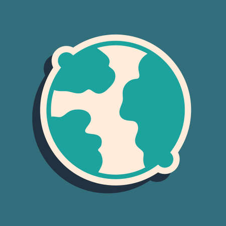 Green Worldwide icon isolated on green background. Pin on globe. Long shadow style. Vector