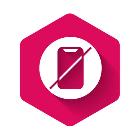 White No cell phone icon isolated with long shadow background. No talking and calling sign. Cell prohibition. Pink hexagon button. Vector