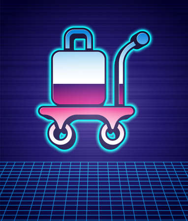 Retro style Trolley suitcase icon isolated futuristic landscape background. Traveling baggage sign. Travel luggage icon. 80s fashion party. Vector