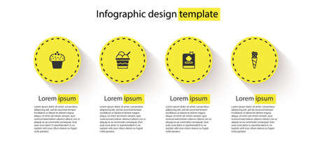 Set Cake, Ice cream in bowl, Cookbook and waffle cone. Business infographic template. Vector