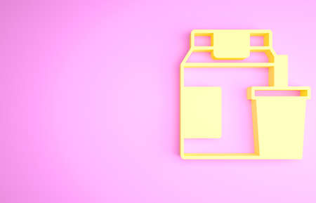 Yellow Online ordering and fast food delivery icon isolated on pink background. Minimalism concept. 3d illustration 3D render