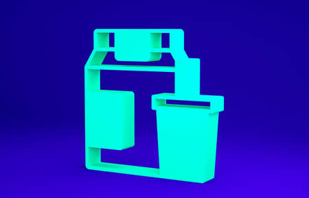 Green Online ordering and fast food delivery icon isolated on blue background. Minimalism concept. 3d illustration 3D render