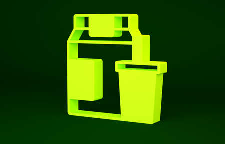 Yellow Online ordering and fast food delivery icon isolated on green background. Minimalism concept. 3d illustration 3D render