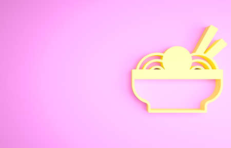 Yellow Asian noodles in bowl and chopsticks icon isolated on pink background. Street fast food. Korean, Japanese, Chinese food. Minimalism concept. 3d illustration 3D render Stockfoto