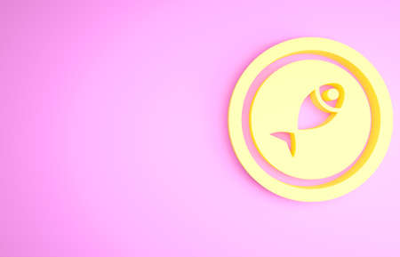 Yellow Served fish on a plate icon isolated on pink background. Minimalism concept. 3d illustration 3D render
