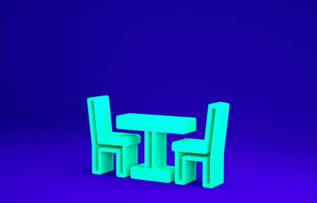 Green Wooden table with chair icon isolated on blue background. Street cafe. Minimalism concept. 3d illustration 3D render