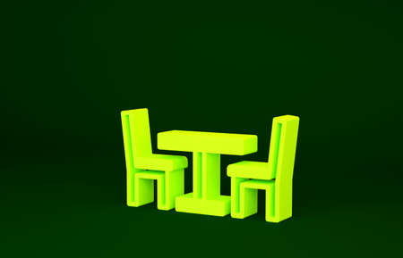 Yellow Wooden table with chair icon isolated on green background. Street cafe. Minimalism concept. 3d illustration 3D render