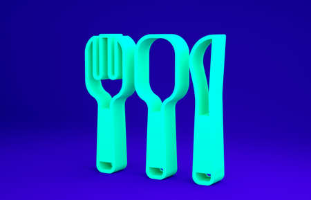 Green Fork, spoon and knife icon isolated on blue background. Cooking utensil. Cutlery sign. Minimalism concept. 3d illustration 3D render