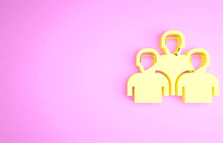 Yellow Team of baseball players icon isolated on pink background. Minimalism concept. 3d illustration 3D render