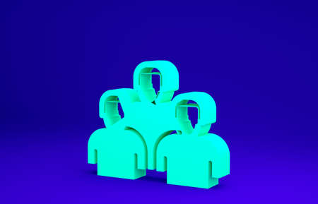 Green Team of baseball players icon isolated on blue background. Minimalism concept. 3d illustration 3D render