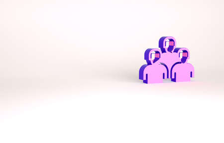 Purple Team of baseball players icon isolated on white background. Minimalism concept. 3d illustration 3D render