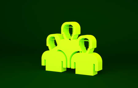 Yellow Team of baseball players icon isolated on green background. Minimalism concept. 3d illustration 3D render