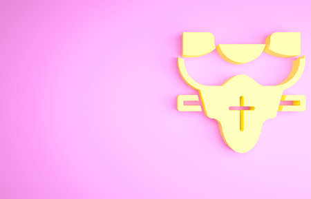 Yellow American football player chest protector icon isolated on pink background. Shoulder and chest protection for upper body. Team sports. Minimalism concept. 3d illustration 3D render