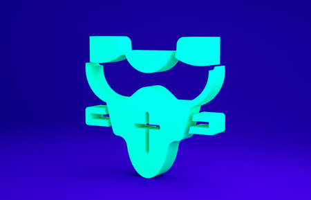 Green American football player chest protector icon isolated on blue background. Shoulder and chest protection for upper body. Team sports. Minimalism concept. 3d illustration 3D render