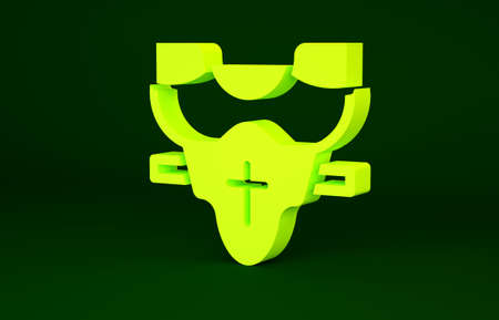 Yellow American football player chest protector icon isolated on green background. Shoulder and chest protection for upper body. Team sports. Minimalism concept. 3d illustration 3D render Stockfoto