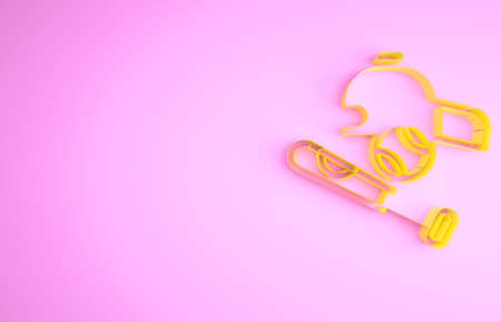 Yellow Baseball bat with ball, hat icon isolated on pink background. Minimalism concept. 3d illustration 3D render Stockfoto