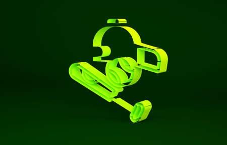 Yellow Baseball bat with ball, hat icon isolated on green background. Minimalism concept. 3d illustration 3D render