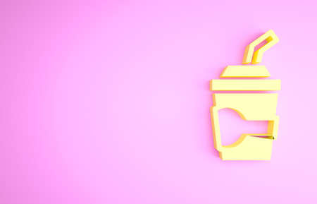 Yellow Paper glass with drinking straw and water icon isolated on pink background. Soda drink glass. Fresh cold beverage symbol. Minimalism concept. 3d illustration 3D render Stockfoto