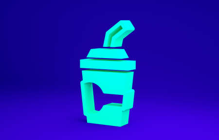 Green Paper glass with drinking straw and water icon isolated on blue background. Soda drink glass. Fresh cold beverage symbol. Minimalism concept. 3d illustration 3D render Stockfoto