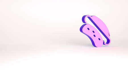 Purple Hotdog icon isolated on white background. Sausage icon. Fast food sign. Minimalism concept. 3d illustration 3D render