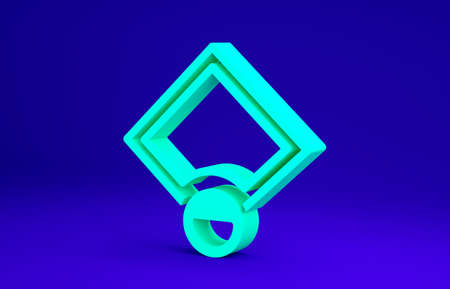 Green Baseball field icon isolated on blue background. Baseball map. Minimalism concept. 3d illustration 3D render