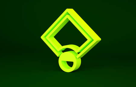 Yellow Baseball field icon isolated on green background. Baseball map. Minimalism concept. 3d illustration 3D render Stockfoto