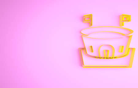 Yellow Baseball arena icon isolated on pink background. Baseball field. Minimalism concept. 3d illustration 3D render