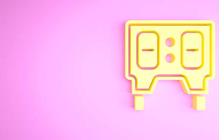 Yellow Sport baseball mechanical scoreboard and result display icon isolated on pink background. Minimalism concept. 3d illustration 3D render