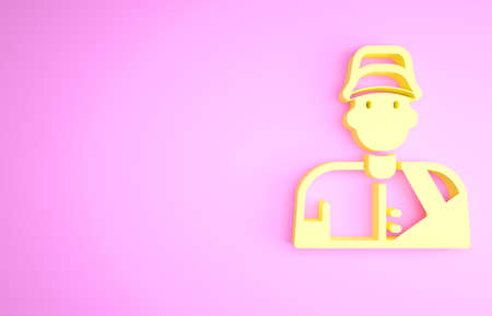 Yellow Baseball player icon isolated on pink background. Minimalism concept. 3d illustration 3D render