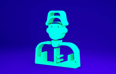 Green Baseball player icon isolated on blue background. Minimalism concept. 3d illustration 3D render