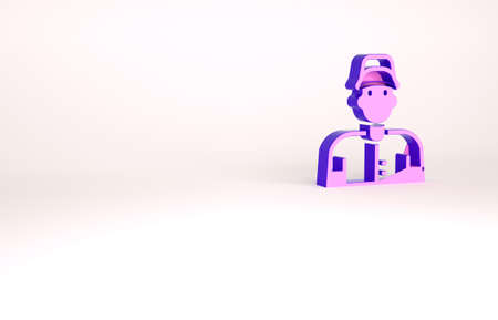 Purple Baseball player icon isolated on white background. Minimalism concept. 3d illustration 3D render