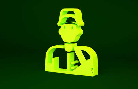 Yellow Baseball player icon isolated on green background. Minimalism concept. 3d illustration 3D render