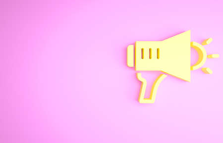 Yellow Megaphone icon isolated on pink background. Speaker sign. Minimalism concept. 3d illustration 3D render